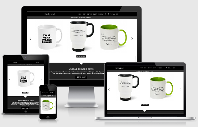 Screenshot of Thinkyprint website design across a range of devices